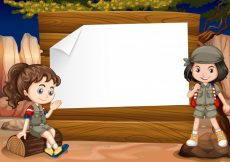 Free vector Border design with two girl camping out illustration #12357