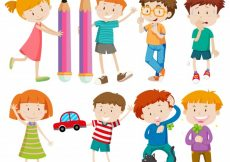 Free vector Boys and girls in different actions illustration #12319