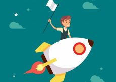Free vector Businessman flying in a rocket with flag #5607
