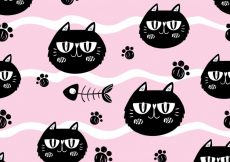 Free vector Cats and fishbones on pink background #10503