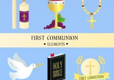 Free vector  chalice and other elements of first communion #4237
