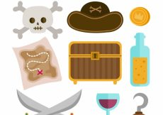Free vector Chest with map and elements of pirates in flat design #9026
