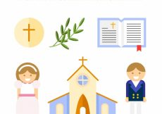 Free vector Church with children of communion and religious elements #4201