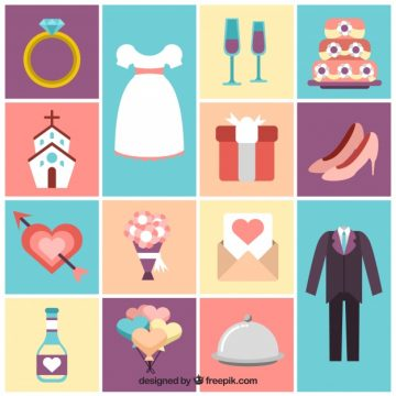 Free vector Colecction of cute wedding elements  #7937