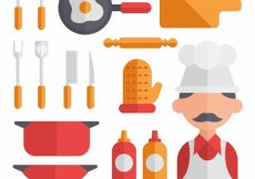 Free vector Collection chef and kitchen utensils in flat design #5705