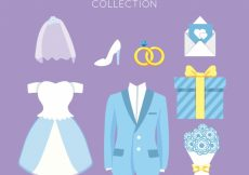 Free vector Collection of beautiful wedding elements in pastel color #6946