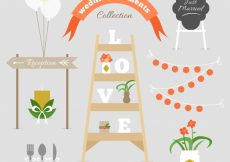 Free vector Collection of fantastic wedding elements #9167