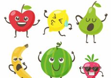 Free vector Collection of funny fruit characters #10667