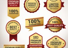 Free vector Collection of high quality golden stickers #6980