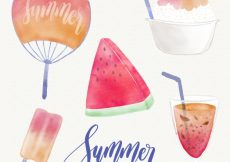 Free vector Collection of summer elements painted with watercolor #5491