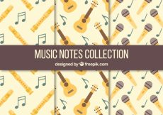 Free vector Collection of vintage patterns with musical instruments and microphone #12295