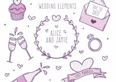 Free vector Collection of wedding elements in purple tones #8225