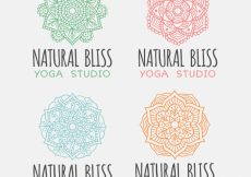 Free vector Collection of yoga logos with mandalas #10537