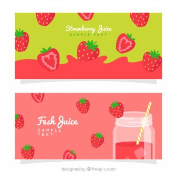 Free vector Colored banners of strawberry juice #4410