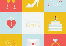 Free vector Colored pack of wedding elements in flat design #9965