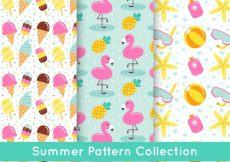 Free vector Colored summer patterns with decorative elements #4778