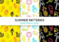 Free vector Colored summer patterns with hand-drawn elements #7851