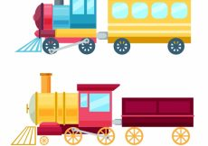 Free vector Colored toy trains in flat design #4625