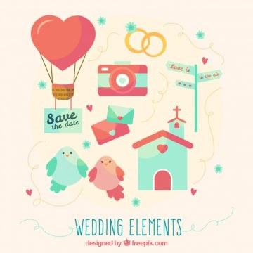 Free vector Cute set of colored wedding items #9177