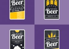 Free vector Dark beer labels with yellow details #7897