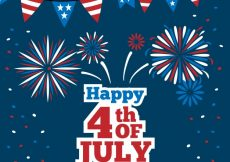 Free vector Dark blue background with garlands and fireworks for independence day #6205