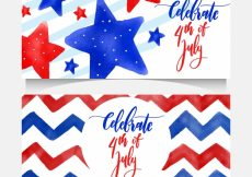Free vector Decorative banners for independence day in watercolor style #8778