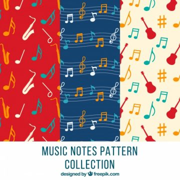 Free vector Decorative patterns with musical notes and instruments #12107