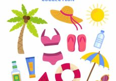Free vector Decorative summer objects in flat design #5437