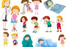 Free vector Doctor and many sick patients illustration #12349