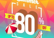 Free vector Eighty percent summer sales background #7160