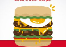 Free vector Fantastic background of double beef burger #8698