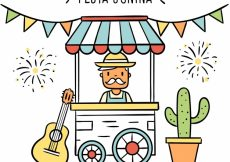 Free vector Festa junina background of man in a stand #9532