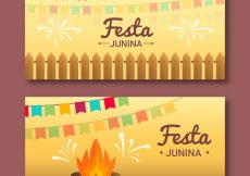 Free vector Festa junina banners with garlands and bonfire #7729