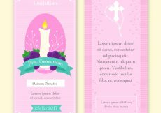 Free vector First communion invitation with candles and grapes #5665