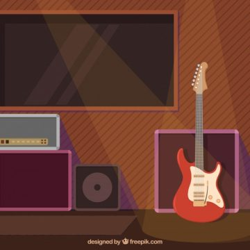 Free vector Flat background with electric guitar and spotlights #6574