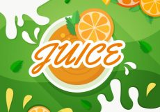 Free vector Flat background with green shape and orange slices #3856