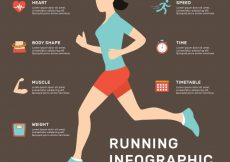 Free vector Flat infographic template of woman running #5087