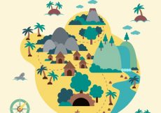 Free vector Flat island with pirate treasure #8678