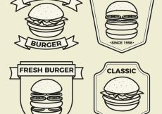 Free vector Flat logos with different kind of burgers #5913