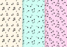 Free vector Flat patterns with decorative music notes #12105
