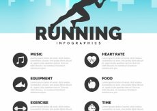 Free vector Flat running infographic with silhouette #5033