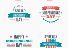 Free vector  flat selection of decorative labels for independence day #10010