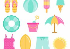 Free vector Flat selection of summer objects in pastel colors #4842