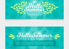 Free vector Flat summer banners with palm leaves #3993