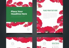 Free vector Floral business stationery pack #6944
