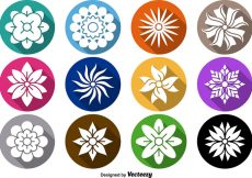 Free vector Flower Icon Vector Set #8136