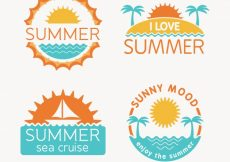 Free vector Four summer retro stickers #4639