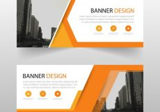 Free vector Geometric banner with orange shapes #11087