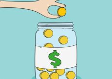 Free vector Glass jar background with coins #6906