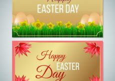 Free vector Golden banners with easter day flowers #10822